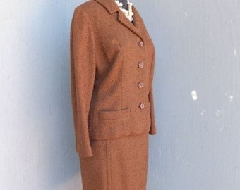 1950s Chocolate Brown Boucle Suit  / Professional Career SUIT /  Two Piece wool Suit, Winter Fashion