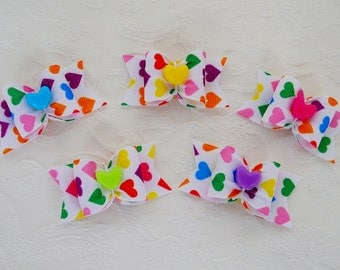 "Dog Bow- 7/8"" Rainbow Hearts Single Loop Dog Bow"