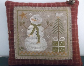 Completed Cross Stitch, Winter Snowman Pinkeep, Bowl Filler ~ Made To Order ~