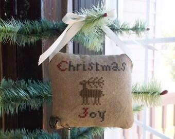 "Completed Cross Stitch - ""Christmas Joy"" Reindeer Pinkeep - Shabby Chic Decor - Primitive Farmhouse -  Pin Cushion"