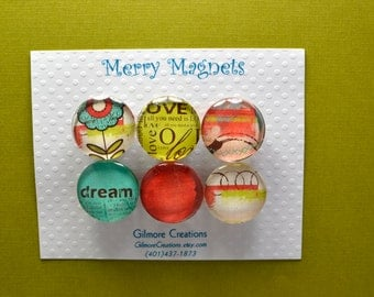 "Set of Magnets   Fridge Magnets  Glass Magnets  ""Dream"""