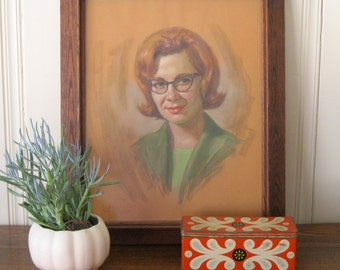 Vintage Pastel Portrait of a beautiful woman in cat eye glasses
