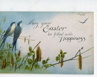 Easter postcard, antique postcard,  Easter Vintage Postcard Swallows, branch with flowers, Easter ephemera post card