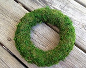 "Moss Wreaths, 6.75"" Green Moss Covered Wreath, Wedding Wreath, Floral Supply"