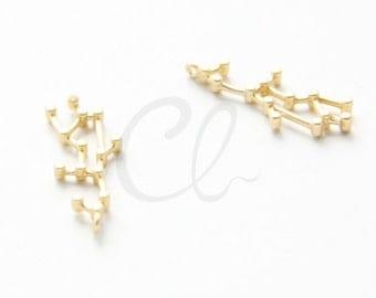 2pcs Premium Matte Gold Plated Brass Base Charms-Zodiac-Virgo 26x10.3mm (1155C-U-252)