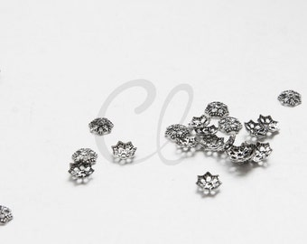 100pcs Oxidized Silver Plated Brass Base Bead Caps - 6mm (1862C-U-281)