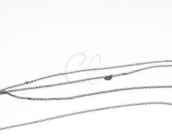 6 Feet Matte Black Plated Brass Base Chains - Flat Oval 1.45x1.16mm (225SF07)