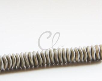 12pcs Czech Preciosa Ripple Beads - Waved Disk - California Silver Matt 12mm (38S5)