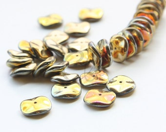 12pcs Czech Preciosa Ripple Beads - Waved Disk - California Sunshine 12mm (29S5)
