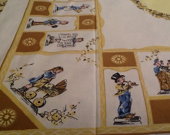 Vintage Hummel Figurines Tablecloth