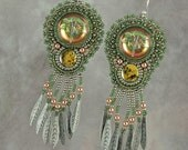 Czech Glass Dragonfly Button with Paua Shell and Copper  Bead Embroidered Earrings