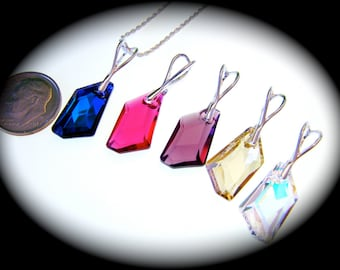 """Swarovski De-Art Crystal Pendant in 5 Available Color Selection - Includes 18"""" Sterling Silver 1.2mm Diamond Cut Rope Italian Chain"""