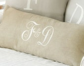 Monogram Pillow Cover, Wedding Gift, Couple's Pillow, Monogram Throw Pillow,Linen Pillow, Personalized Anniversary Gift, Decor by OhKoey