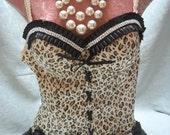 50% OFF  BUSITER Corset Show Girl Leopard Rhinestones - Vintage Bustier Make Over - Leopard and Black