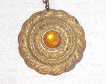 Clearance 1920s Vintage Gold Tone Medallion Necklace with Faceted Brown Glass Stone
