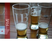 FIVE  Custom Etched Pilsners