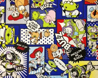Disney licensed Fabric Toy Story Print Woody Buzz Lightyear fat quarter printed in Japan ©disney