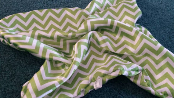 "Satin Comfort Blanket - Lovey for Babies and Small Children  - 13""x13  White & Green Chevron"