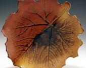 Leaf Bowl/Plate Wallhanging, Hand Thrown Stoneware, John Bauman