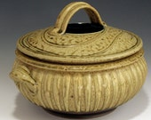 Hand Thrown, Stoneware, Ovenware, Microwaveable, Two Quart, Striped Ash-Glazed Casserole, John Bauman