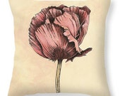 Poppy Flower Throw Pillow - Vintage Look Pink and Cream Botanical Fine Art Cushion