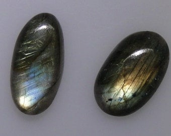 2 Labradorite oval cabochons, very good color flash, 43.47 carats t.w.                    043-10-407