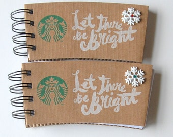 STARBUCKS Christmas Holiday Notebook made out of Coffee Sleeves-set of 2