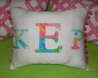 New monogram pillow made with Lilly Pulitzer PARTY PATCH fabric