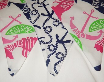 Custom Flag Banner, Bunting made with Lilly Pulitzer Ahoy There and Butter Me Up fabric
