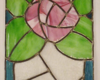 ROSE Flower Stained GLASS Decoration Window Panel handcrafted app 23 3/8 in by 13 1/2 in As Found condition