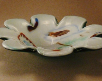Italian  MURANO GLASS Bowl Heavy clear and orange flower swirl  app 8 diam  In 3in tall