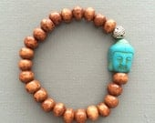 wood mala bracelet with buddha head