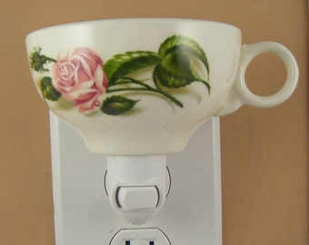 Retro Universal Ballerina MOSS ROSE Pattern Tea Cup Custom Made Night Light
