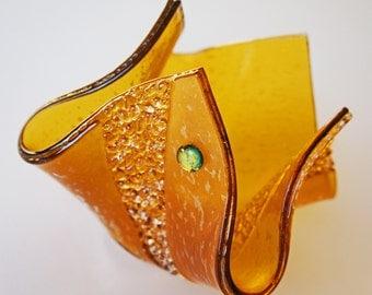 Shimmering Golden Amber Fused Glass Vase Candle Holder Home Decor