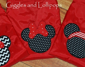 Girls boys custom personalized  backpack cinch sak  disney minnie mouse mickey mouse chevron