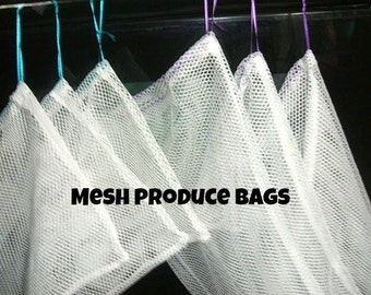 Set of 6 Produce Bags Poly Mesh Super Strong Colored Ribbons