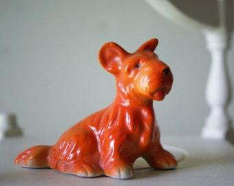 Little Orange Scottie Dog Figurine | Made in Japan | MIJ | Scottish Terrier