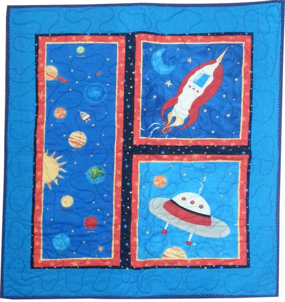Outer space quilt for baby or toddler wall by sieberdesigns for Outer space quilt
