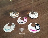 50+ Wine Charms Wine Tags Name Tags Diamond Rings Glass Markers White Glitter Ring Engagement Bachelorette Party *Sent Out Next Day*