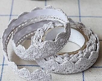 Gray Lace Tape - Fabric Crochet,  Decorative Cotton Adhesive