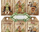 Christmas 1375 Crows and Ginger Bread Tags Printable Handmade Digital Collage Sheet