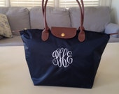 Navy Personalized Bag Medium Tote, Nylon fold up monogrammed FREE - Preppy gift