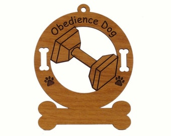 Obedience Personalized Wood Dog Sport Ornament