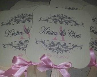 Wedding Fans with Monogram, Wedding Fans, Die cut Fans, Wedding Monogram, Wedding Favor, Vintage