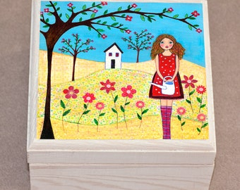 Flower Girl Jewelry Box, Trinket Box, Gift Box