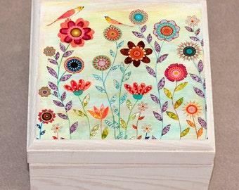 Birds and Flowers Jewelry Box, Trinket Box, Gift Box