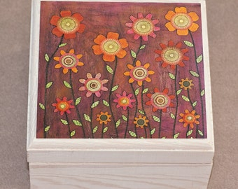 Flowers 4, Jewelry Box, Flower Trinket Box, Gift Box