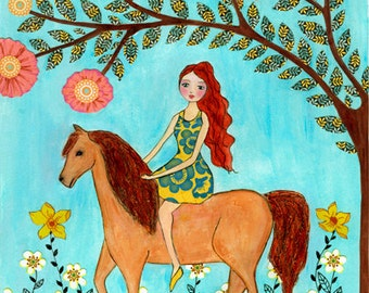Girl on Horse Original Painting, Original Art, Watercolor and Collage Painting