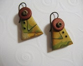 Polymer Clay Earrings made using Mokume Gane Technique, Gold, Burnt Orange, Olive