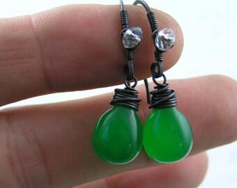 Bright Green Earrings, Wire Wrapped Earrings, Czech Glass Teardrop Earrings, Wire Wrapped Signature Ear Wires, Earrings Handmade